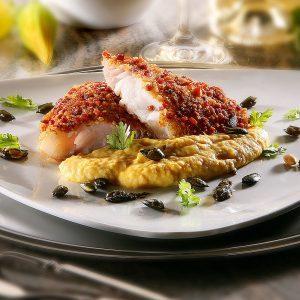 Rezept Kabeljau mit Pancetta-Kruste auf Kürbispüree mit Kürbis-Koriander-Pesto